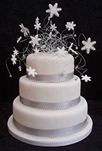 edible diamantes for wedding cakes snowflake wedding cake topper and diamante trim package 13893