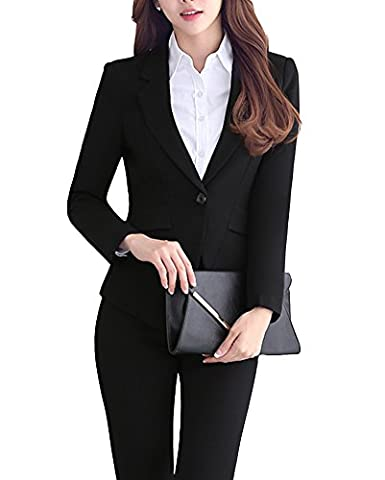 SK Studio Women's Slim Fit Two piece Work Jacket Pants