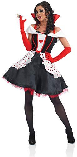 Fancy Me Damen Längere Länge Königin der Herzen Alice im Wunderland büchertag Halloween Kostüm Kleid Outfit 8-30 Übergröße - Schwarz, 8-10 (Alice Im Wunderland Kostüm Übergröße)