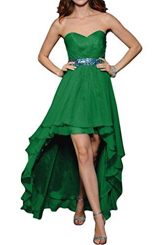 ivyd ressing pietre a forma di cuore cintura da donna Fashion Hi-Lo Party Festa Prom abito abito sera vestito Verde