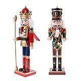 P Prettyia 2 x Klassischer Holz Nussknacker König Soldat Figuren Modell 30 cm Puppe Spielzeug Wohnkultur