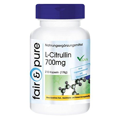 L-Citrullina 700mg - 210 capsule - vegano - Sostanza pura - Supporta una pronta guarigione dopo l'esercizio sportivo