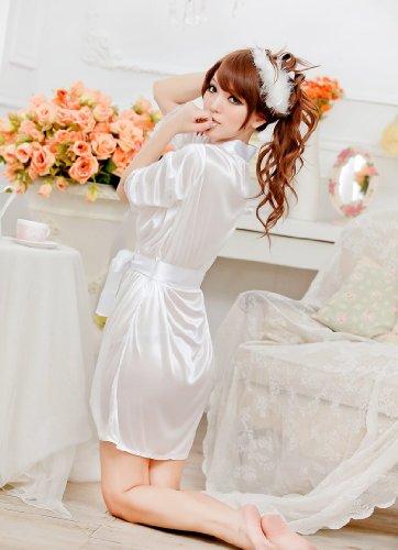 Aolevia Sexy Robe de Nuit En Satin Lingerie Nuisette Avec Dentelle Robe Chambre de Nuit(EU Taille 34 -40) Blanc