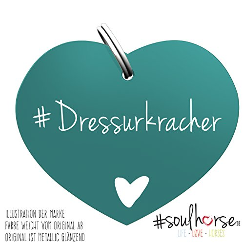"""Pferde Glücksmarke Herzmarke """"#Dressurkracher"""" in türkis von Soulhorse fürs Halfter, Trense und Zaumzeug"""