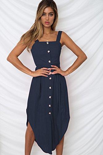 Knopf Vorne Pullover Kleid (Cxlyq Ärmelloses, Trägerloses Kleid Mit Knopfleiste, Weiblich)