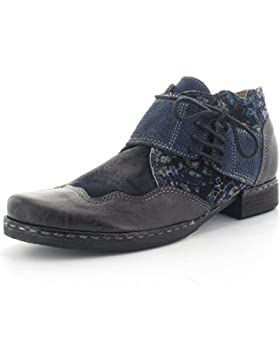 CHARME Stiefelette 0561E - Obermaterial Echtleder schwarz/blau kombiniert - Lederfutter