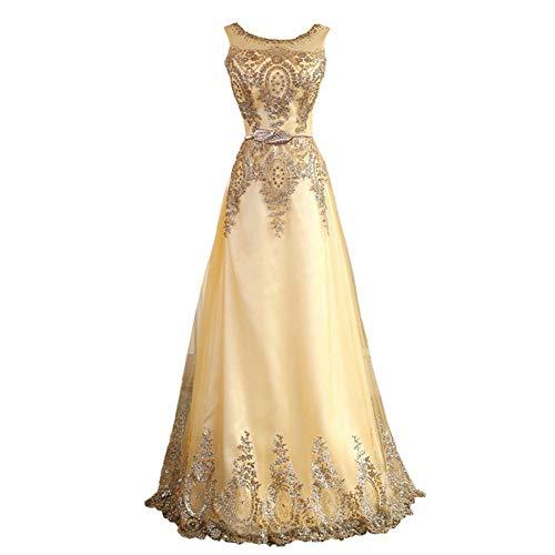 BINGQZ Damen/Elegant Kleid/Cocktailkleider Tüll muslimischen Gold Abendkleid langes formelles Kleid Prom Robe de Soiree Mutter der Braut Kleider kommen mit Gürtel