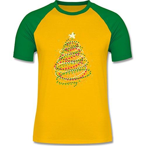 Weihnachten & Silvester - Abstrakter Weihnachtsbaum - zweifarbiges Baseballshirt für Männer Gelb/Grün