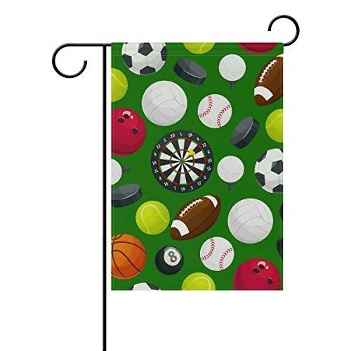 Buyxbn Gartenflaggen Sportball grün - festliches Gartenbanner aus stabilem Polyester doppelseitig Hausdekorationen Urlaub Rasen Terrasse Dekoration, Polyester, Color-1, 12