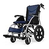 Aluminium Transport Rollstühle Breathsitzkissen Reversible Fußstütze Faltbare Rückenlehne verstellbar Sicherheitsgurt und Anti Fallen Hinterrad (Color : Blue, Size : Medium Wheel) -