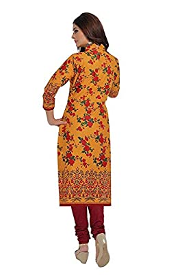 Crazy Women's Cotton Unstitched Salwar Suits Dress Material (Yellow Maroon, Free Size)