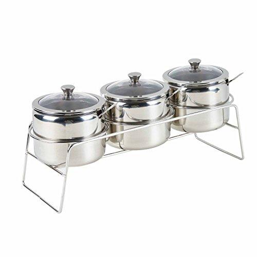 Multifunktionale Edelstahl 3Stück Speisewürze Würze Container Töpfe Set, cremefarben und Zucker Kanister, Dip Schalen Set mit sichtbar Glas Deckel, Löffel und Rack/Regal, poliert -