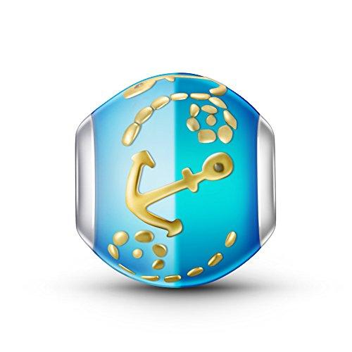 Sumerflos 925Sterling Silber Zwei Ton Perlen Maritim Anker Charms für Pandora Troll Chamilia Kay Carlo Biagi und andere add-a-bead Armbänder