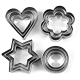 Divinext 12 Piece Set Stainless Steel Pastry Cookie Biscuit Cutter Cake Muffin Decor Mold Mould Multifunctional Tool