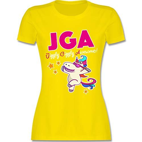 JGA Junggesellinnenabschied - JGA Jiggly Giggly Awesome! Einhorn - M - Lemon Gelb - L191 - Damen Tshirt und Frauen T-Shirt