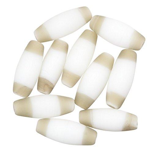 Tubo ovale bianco perline di vetro lampade striscia marrone 20mm