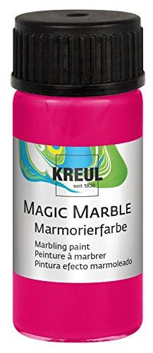 Kreul 73233 - Magic Marble Marmorierfarbe, zum Tauchmarmorieren von Holz, Glas, Kunststoff, Papier, Metall und Styropor, 20 ml Glas in neonpink