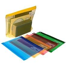 Snopake Electra Zippa Bag - Busta richiudibile con zip, formato A4+, 5 pezzi, trasparente, colori assortiti