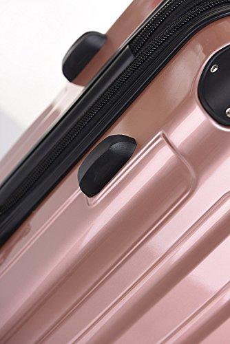 BEIBYE Hartschalen Koffer Trolley Rollkoffer Reisekoffer 4 Zwillingsrollen Polycabonat (Rosa Gold, Kofferset) - 6