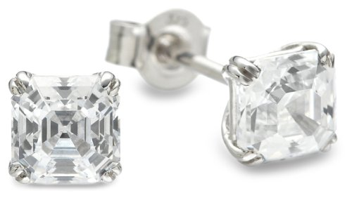 Tower Jewellery 9 ct White Gold Mosaic Cubic Zirconia Earrings