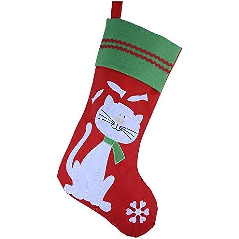Wewill Bordado precioso admiten Patrón de Navidad del perro del gato medias o 16 pulgadas Longitud