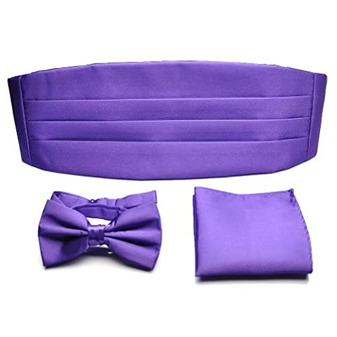 PenSee Formal Purple Pre-tied Bow Tie & Pocket Square & Cummerbund Set