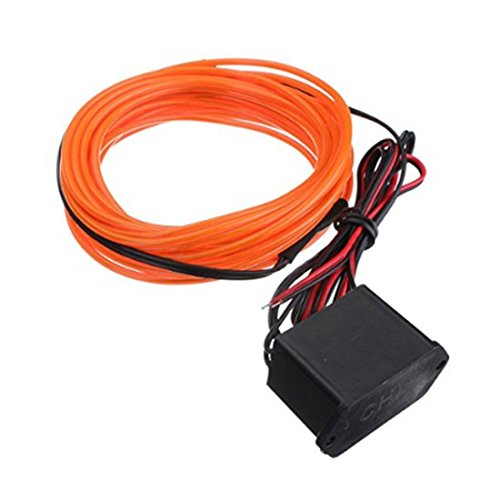 2M EL Kabel DC 12V Flexibel Neon Beleuchtung fuer Weihnachtsfeiern Rave Partys Halloween Kostuem Einzelhandelsgeschaeft Display (Orange) (Dc-halloween-kostüme)