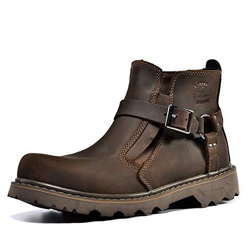 Qiusa Botas de Cuero Genuino con Hebilla para Hombres Suela Blanda Antideslizante Durable Botas Casuales (Color : Marrón, tamaño : EU 39)