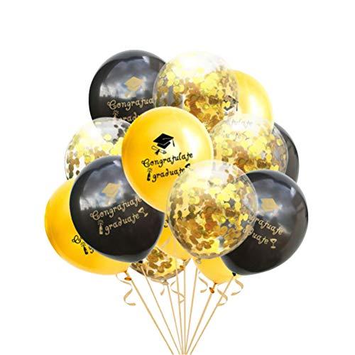 Amosfun Gratulieren Absolvent Ballons 2019 Abschluss Pailletten Konfetti Latex Ballons Abschlussfeier Dekoration Liefert 15 STÜCKE 12 Zoll