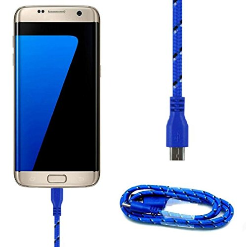 Sannysis 3M Micro USB 10FT Cable de datos de carga para Samsung Galaxy S7 edge, color azul