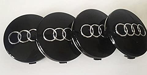 Set of 4 BLACK AUDI 60mm Alloy Wheel Centre