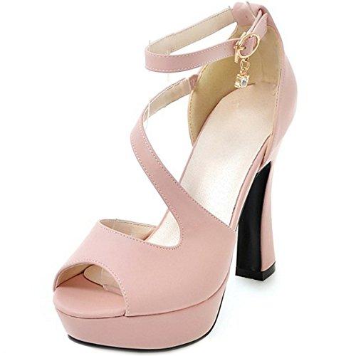 COOLCEPT Femmes Mode Sangle de Cheville Sandales Peep Toe Plateforme Bloc Chaussures Rose