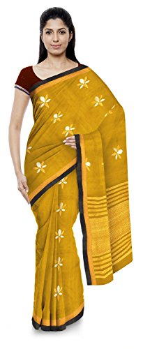 Kota Doria Sarees Handloom Women's Kota Doria Handloom Cotton Silk Saree With Blouse Piece (Gold)