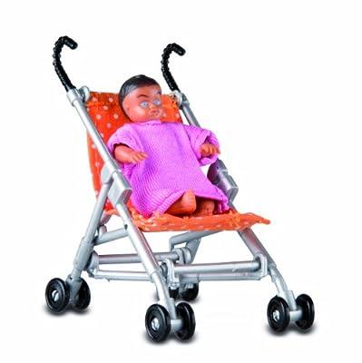 Lundby Småland 60.5085.00 - Bebé y silla de paseo en miniatura para casa de muñecas (escala 1:18) [importado de Alemania] de Lundby