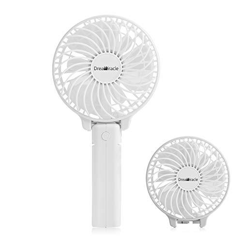Ventilateur Portable, Mini Ventilateur PC USB de Poche Table a Pile Rechargeable 3 Vitesses Petit Puissant à Main Ventilo Pour Maison Bureau (Blanc)