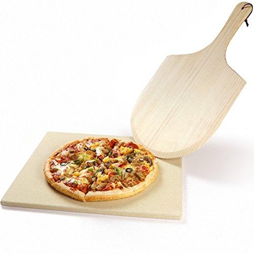 REIDEA Pizzastein Rechteckig, Schamottsteine für Backofen   Gasgrill   Grill,Ofen Brotbackstein Set aus Cordierit, Pizza Stone mit Pizzaschaufel/Pizzaschieber (40,6 X 35,6 X 1,3 cm)