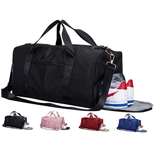 Lantch Männer Sporttasche Reisetasche Frauen Weekender Handgepäck Tasche mit Schuhfach(bk) -