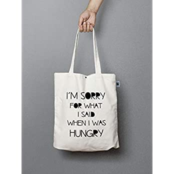 Jutebeutel mit Knopf – i´m sorry for what i said when i was hungry
