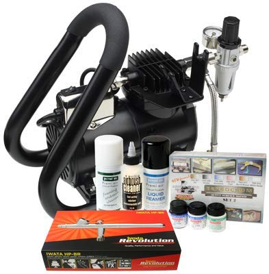 Iwata Modeleller Airbrush Kit mit Smart Jet Plus Tank Kompressor -