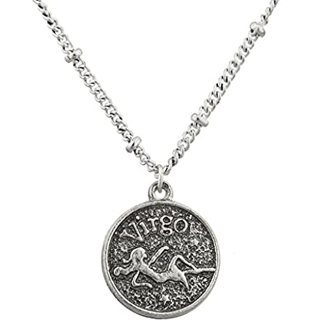 Lux Accessories Burnish Silver Virgo Astrological pendant charm necklace
