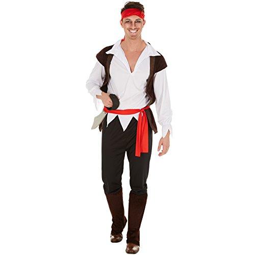Herrenkostüm Pirat | Kostüm mit Kopftuch + Weste & Stulpen | Captain Seeräuber (M | Nr. 300773)