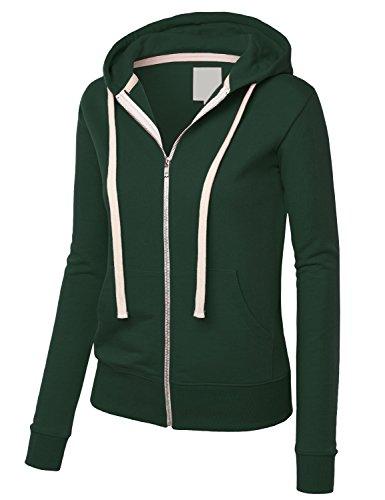 Felpa Donna Pullover Con Cappuccio Cerniera Taglie Forti Elegante Sportiva Sweatshirt Hoody Manica Lunga Tasca Frontale Casual Puro Colore Felpe Inverno Moda Maglie Verde