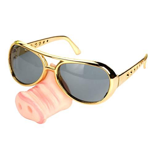 BESTOYARD Schwein Nase Brille für Halloween Party Kostüm Zubehör (Golden)