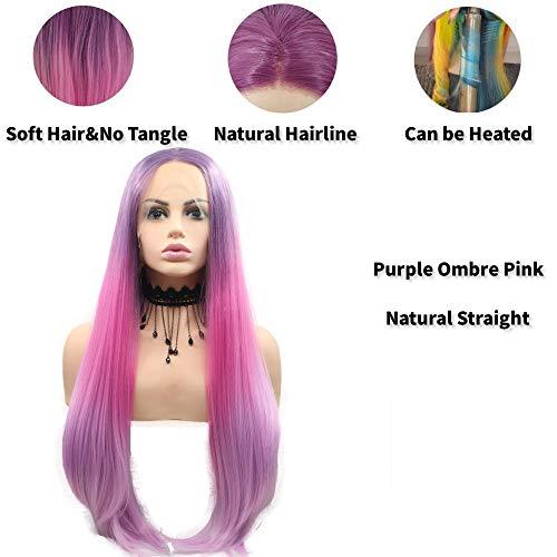 Xiweiya Peluca de pelo largo, liso, color morado, rosa, con encaje frontal resistente al calor, pelucas de encaje sintético para mujer, maquillaje, cosplay, fiesta, pelucas de pelo natural