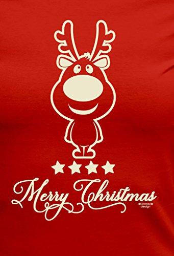 bequemes Shirt Herren Männer Motiv Christmas als Geschenk, für die Festtage kurzarm Outfit T-Shirt Kostüm Weihnachten Farbe: rot Rot