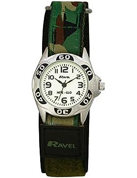 Ravel Nylon-Armbanduhr für Kinder, leuchtet im Dunkeln, Dunkelgrün, Camouflage