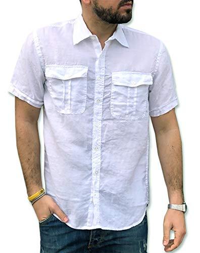 Camicie & dintorni camicia puro lino uomo manica corta tg. s, m, l, xl, xxl, 3xl doppio taschino art. g18b (m, bianco)