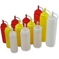 Comida Botella de cocina, Squeeze plástico exprimir condimento botellas dispensadores con tapas para salsa BBQ