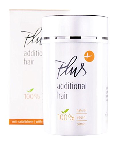 Plus additional hair Haarauffüller - Streuhaar - Haarverdichtung - Haarfasern - Soforteffekt - 100% vegan - OHNE tierisches Keratin - Naturprodukt mit Vitamin E - für Männer & Frauen - MITTELBRAUN