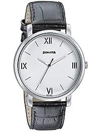Sonata Analog White Dial Men's Watch-7142SL01